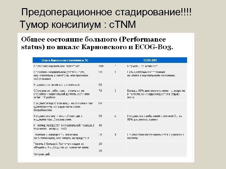 Предоперационное стадирование!!!! Тумор консилиум : с. TNM