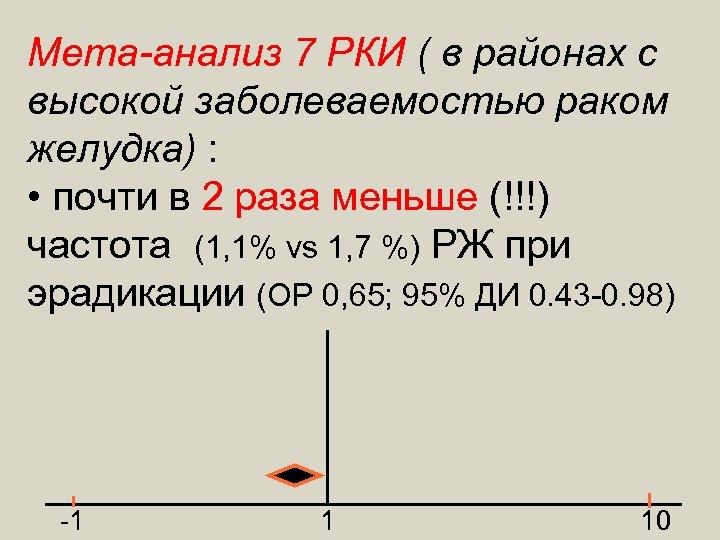 Мета-анализ 7 РКИ ( в районах с высокой заболеваемостью раком желудка) : • почти