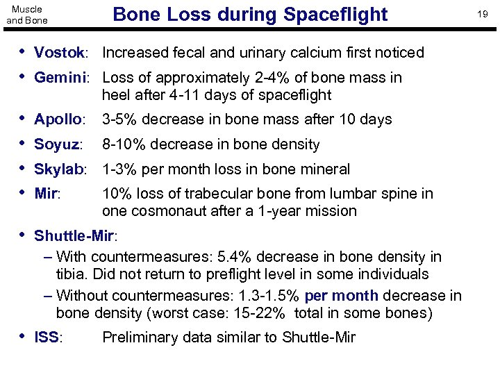 Muscle and Bone Loss during Spaceflight • Vostok: Increased fecal and urinary calcium first