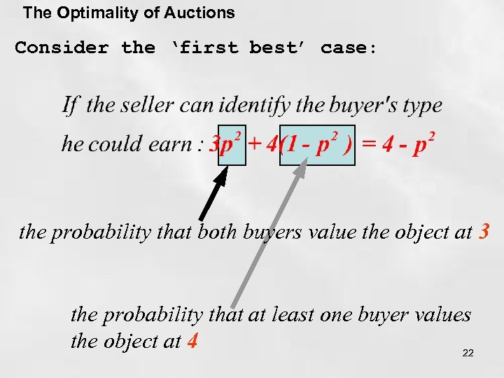 The Optimality of Auctions Consider the 'first best' case: the probability that both buyers