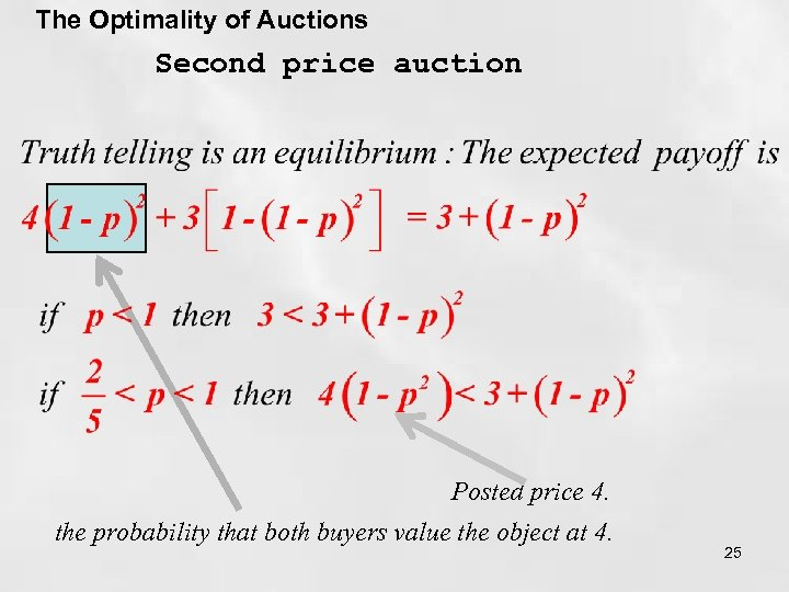 The Optimality of Auctions Second price auction Posted price 4. the probability that both