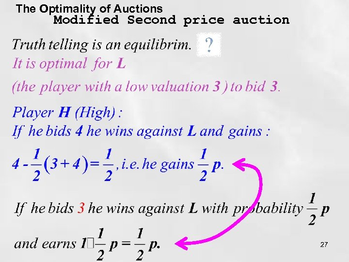 The Optimality of Auctions Modified Second price auction 27