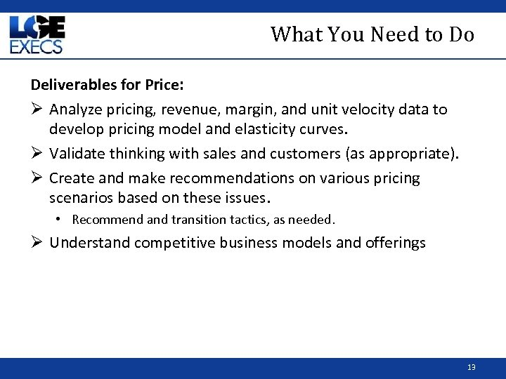 What You Need to Do Deliverables for Price: Ø Analyze pricing, revenue, margin, and