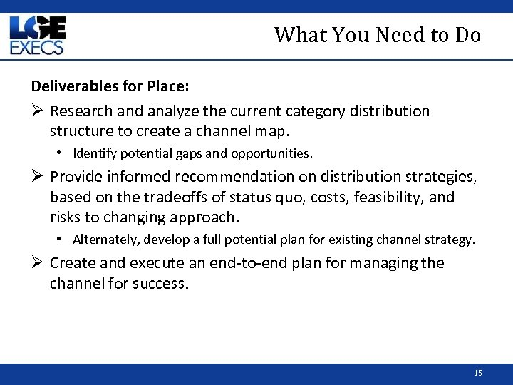 What You Need to Do Deliverables for Place: Ø Research and analyze the current