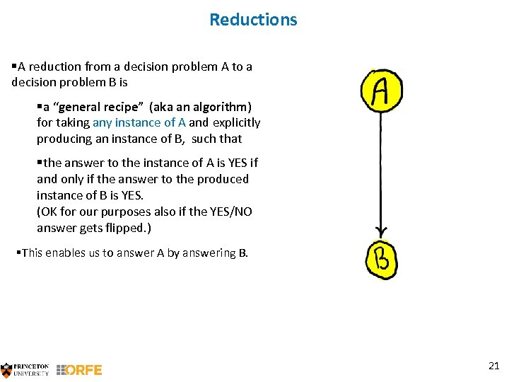 Reductions §A reduction from a decision problem A to a decision problem B is