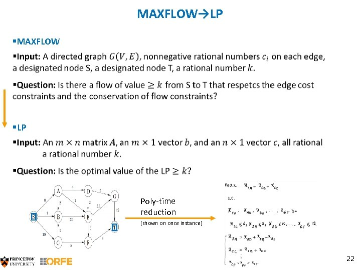 MAXFLOW→LP §MAXFLOW §LP Poly-time reduction (shown on once instance) 22