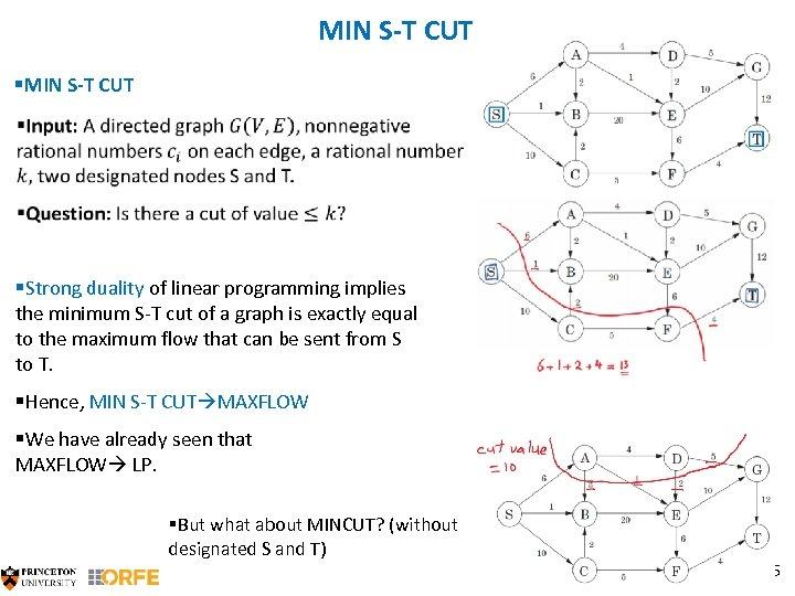 MIN S-T CUT §MIN S-T CUT §Strong duality of linear programming implies the minimum