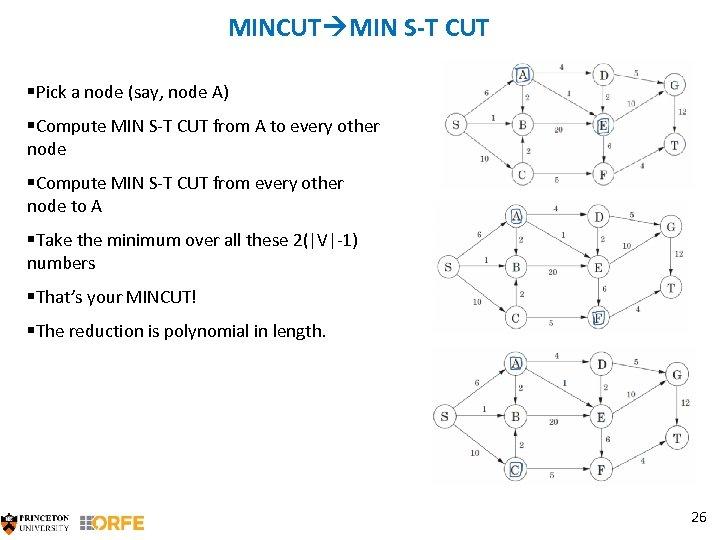 MINCUT MIN S-T CUT §Pick a node (say, node A) §Compute MIN S-T CUT