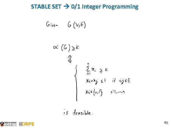 STABLE SET 0/1 Integer Programming 43