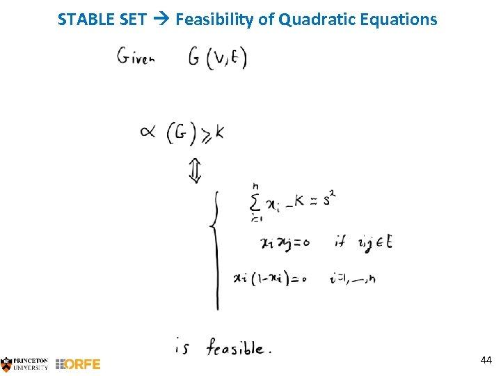 STABLE SET Feasibility of Quadratic Equations 44