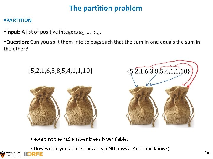 The partition problem §PARTITION §Note that the YES answer is easily verifiable. § How