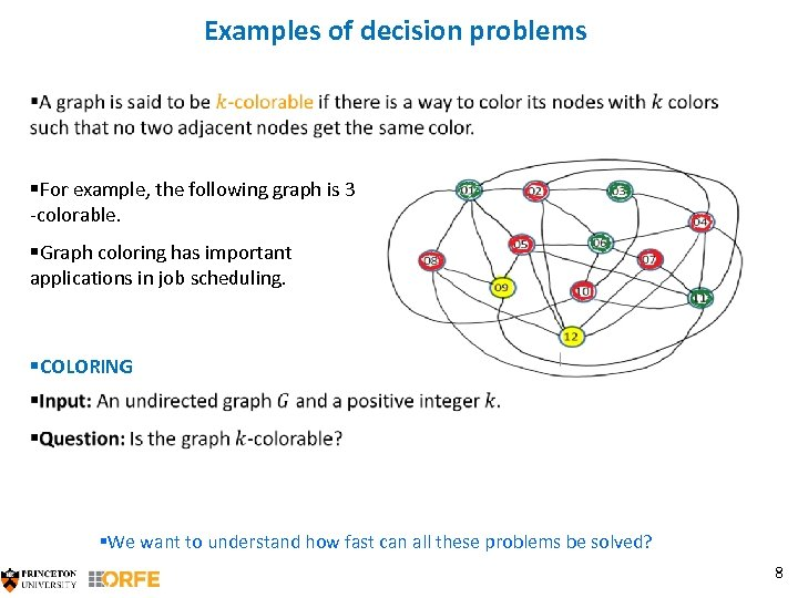 Examples of decision problems §For example, the following graph is 3 -colorable. §Graph coloring