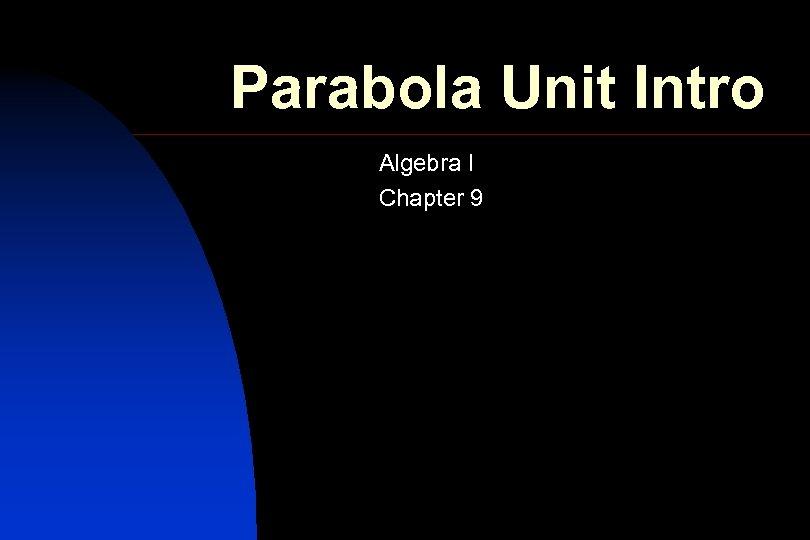Parabola Unit Intro Algebra I Chapter 9