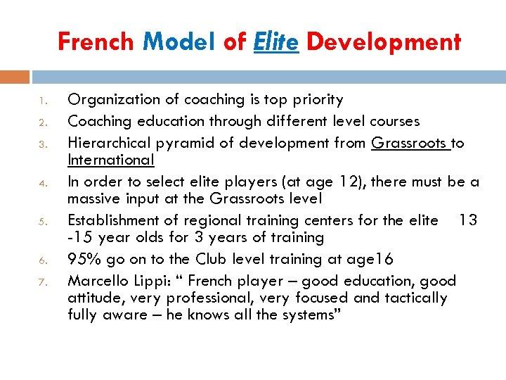 French Model of Elite Development 1. 2. 3. 4. 5. 6. 7. Organization of