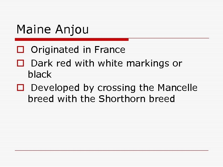 Maine Anjou o Originated in France o Dark red with white markings or black