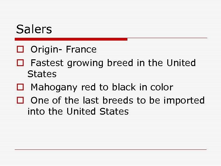 Salers o Origin- France o Fastest growing breed in the United States o Mahogany
