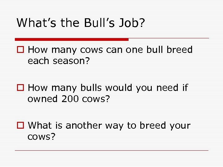 What's the Bull's Job? o How many cows can one bull breed each season?
