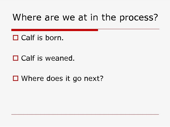 Where are we at in the process? o Calf is born. o Calf is