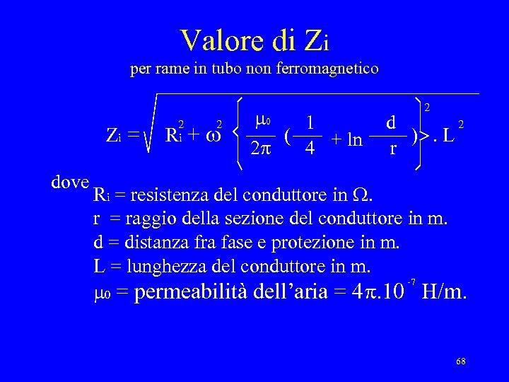 Valore di Zi per rame in tubo non ferromagnetico Zi = dove 2 i