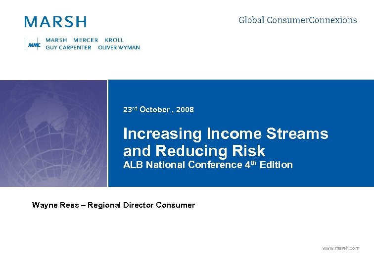 23 rd October , 2008 Increasing Income Streams and Reducing Risk ALB National Conference