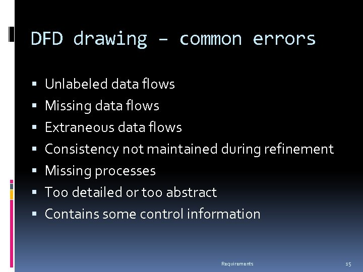 DFD drawing – common errors Unlabeled data flows Missing data flows Extraneous data flows