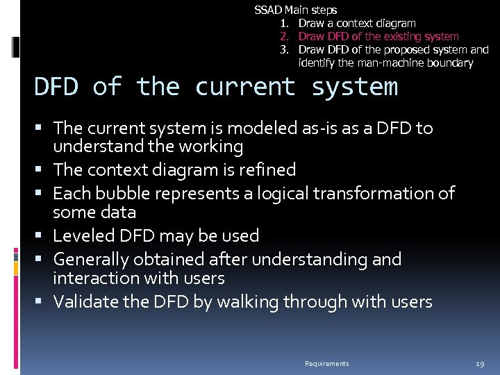 SSAD Main steps 1. Draw a context diagram 2. Draw DFD of the existing