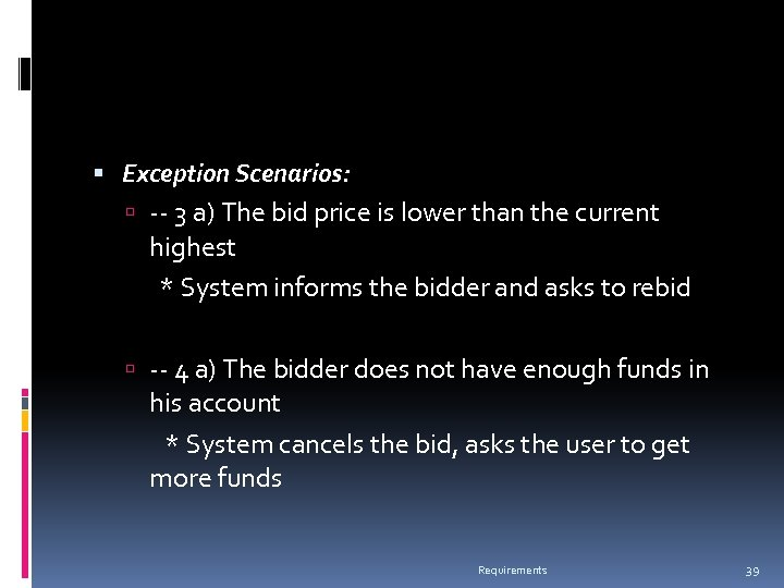 Exception Scenarios: -- 3 a) The bid price is lower than the current