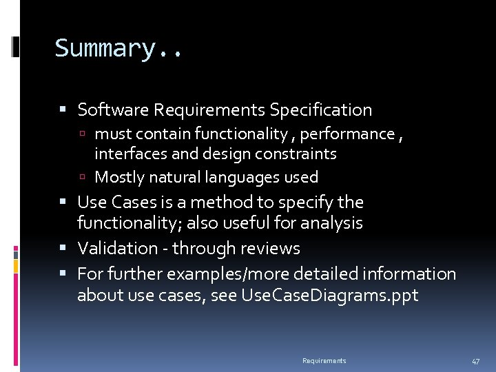 Summary. . Software Requirements Specification must contain functionality , performance , interfaces and design