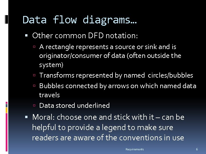 Data flow diagrams… Other common DFD notation: A rectangle represents a source or sink