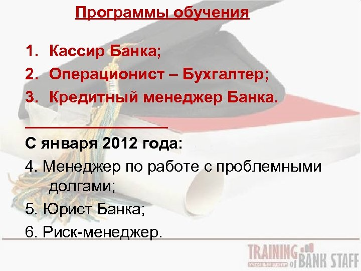 Программы обучения 1. Кассир Банка; 2. Операционист – Бухгалтер; 3. Кредитный менеджер Банка. ________