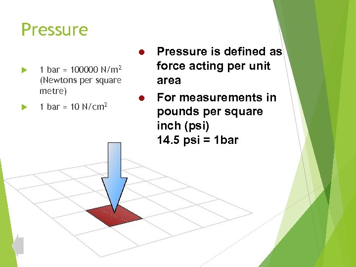 Pressure is defined as force acting per unit area l For measurements in pounds