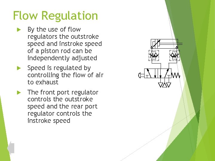Flow Regulation By the use of flow regulators the outstroke speed and instroke speed