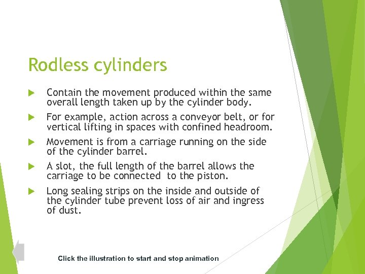Rodless cylinders Contain the movement produced within the same overall length taken up by
