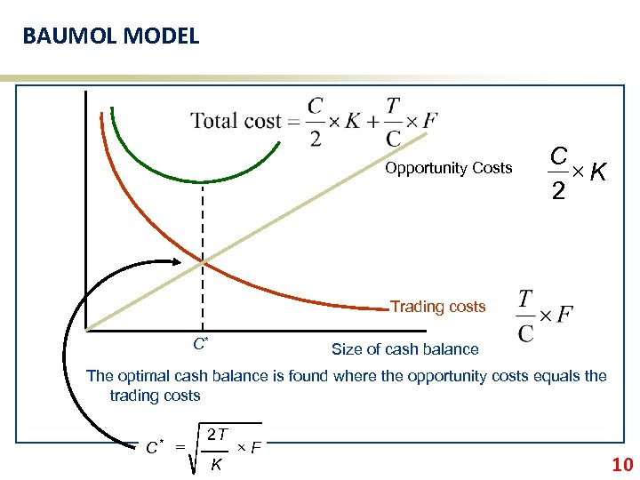 BAUMOL MODEL Opportunity Costs C ´K 2 Trading costs C* Size of cash balance