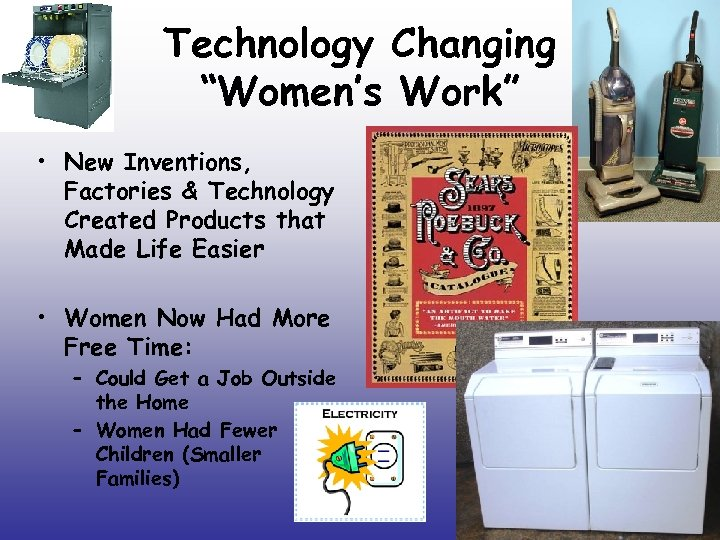 "Technology Changing ""Women's Work"" • New Inventions, Factories & Technology Created Products that Made"