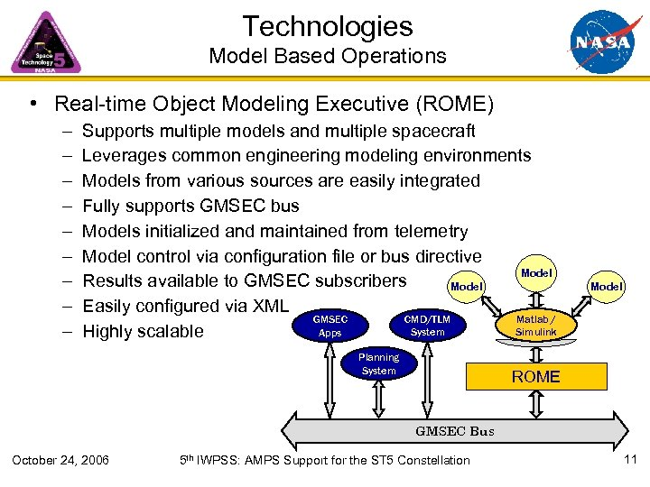Technologies Model Based Operations • Real-time Object Modeling Executive (ROME) – – – –