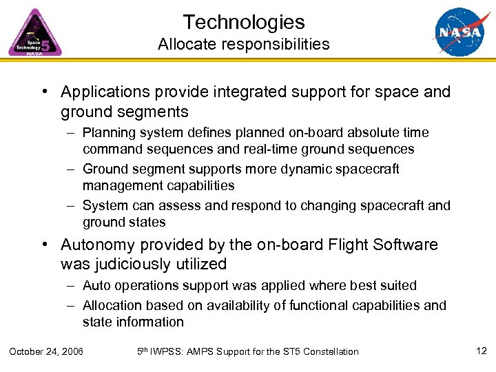 Technologies Allocate responsibilities • Applications provide integrated support for space and ground segments –