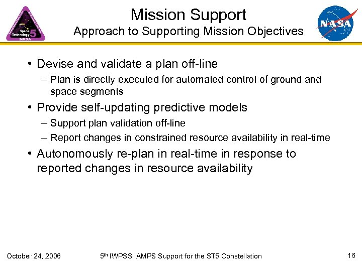 Mission Support Approach to Supporting Mission Objectives • Devise and validate a plan off-line
