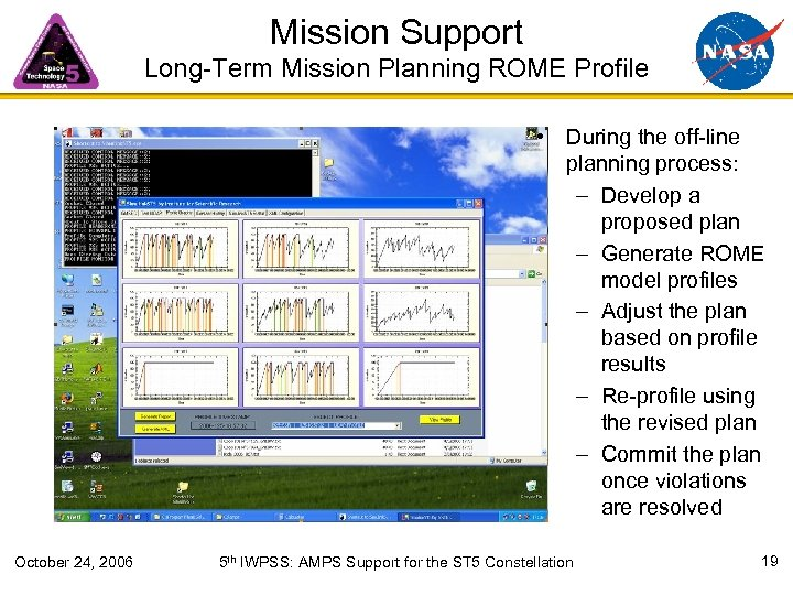 Mission Support Long-Term Mission Planning ROME Profile • During the off-line planning process: –