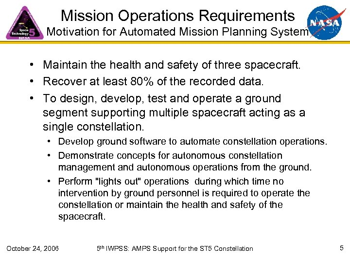 Mission Operations Requirements Motivation for Automated Mission Planning System • Maintain the health and