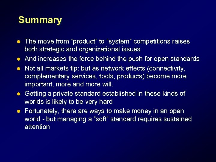 """Summary l l l The move from """"product"""" to """"system"""" competitions raises both strategic"""
