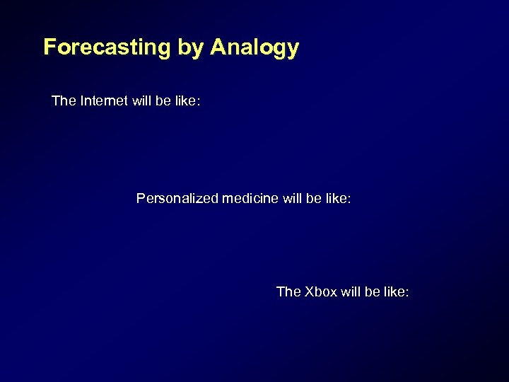 Forecasting by Analogy The Internet will be like: Personalized medicine will be like: The