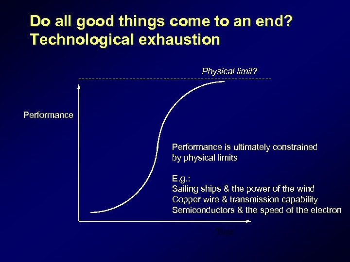 Do all good things come to an end? Technological exhaustion Physical limit? Performance is