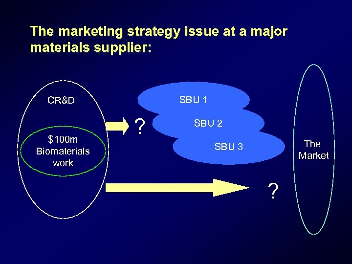 The marketing strategy issue at a major materials supplier: SBU 1 CR&D $100 m