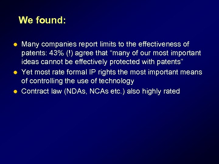 We found: Many companies report limits to the effectiveness of patents: 43% (!) agree