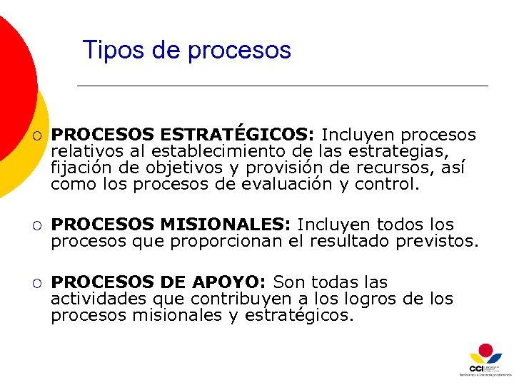 Tipos de procesos ¡ PROCESOS ESTRATÉGICOS: Incluyen procesos relativos al establecimiento de las estrategias,