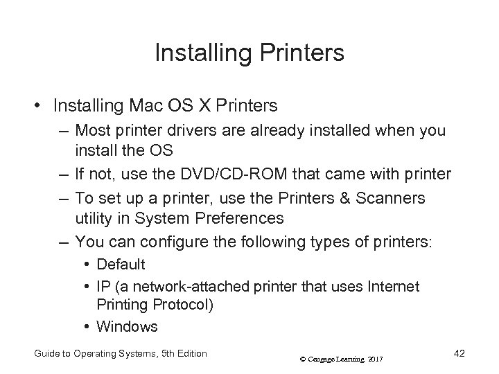 Installing Printers • Installing Mac OS X Printers – Most printer drivers are already