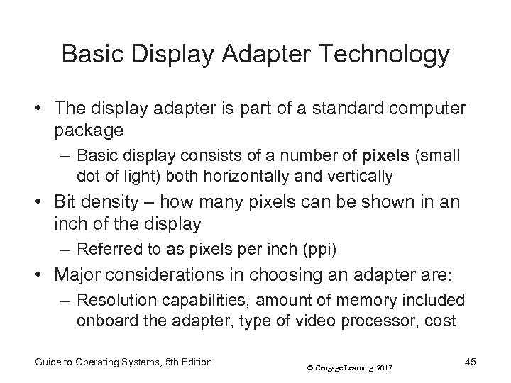 Basic Display Adapter Technology • The display adapter is part of a standard computer