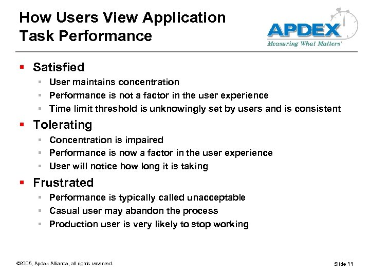 How Users View Application Task Performance § Satisfied § User maintains concentration § Performance