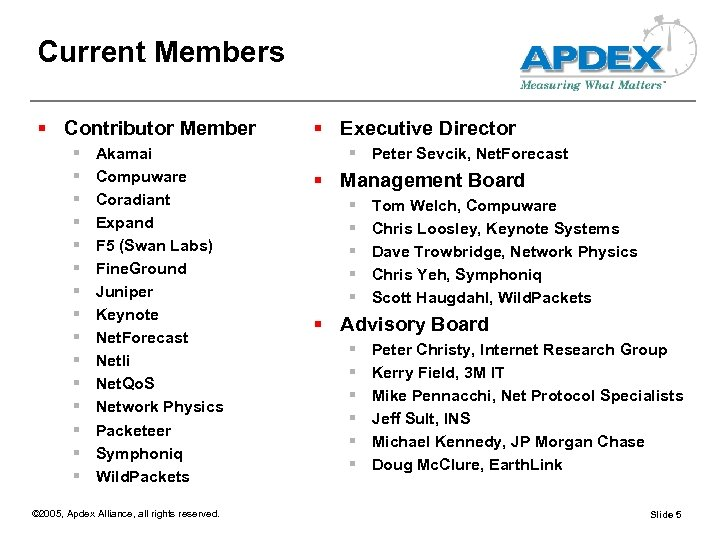 Current Members § Contributor Member § § § § Akamai Compuware Coradiant Expand F